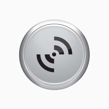 Internet button. Rss sign icon on white background.