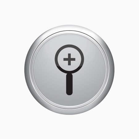 zoom in: Bot�n de Internet. Acercar icono en el fondo blanco.