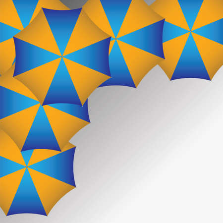 Blue and yellow umbrellas background.  Vector