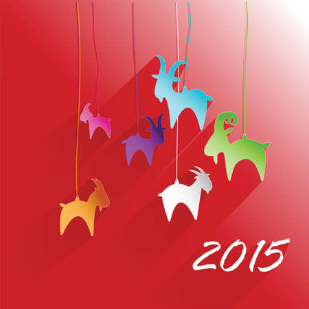 emblem in 2015 on the eastern calendar goat. Happy new year Vector