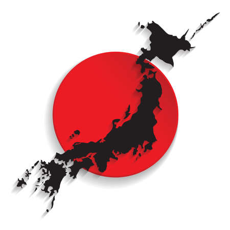 physical geography: Map of Japan with the flag background. Illustration