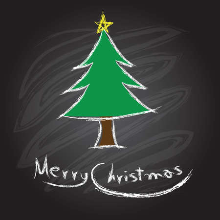 Merry christmas and happy new year on a blackboard Vector