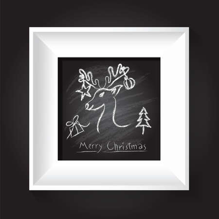 Merry christmas. 3D picture frame design vector background Vector