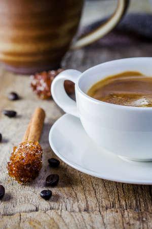 Coffee Espresso. Cup Of Coffee and sugar stick cinnamon photo