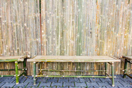 ornamental garden: bamboo bench with sitting in ornamental garden