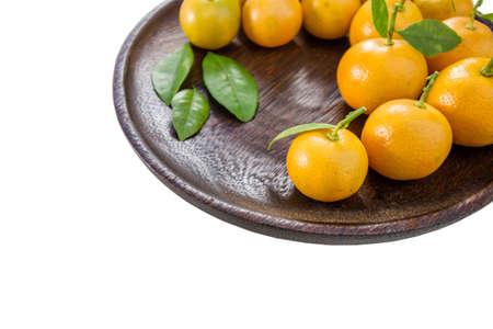 rutaceae: Orange (Citrus Japonica Thunb) on white background Stock Photo