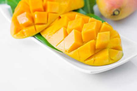 mango slice: fresh mango fruit isolated on white background