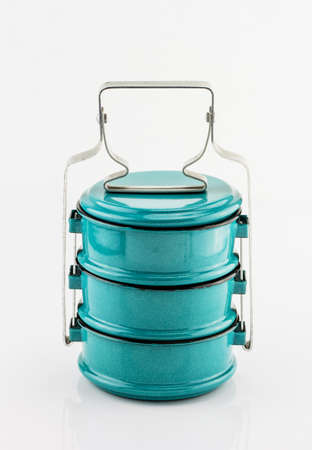 tiffin: Vintage Metal Tiffin ,Food Carrier isolated on white background.