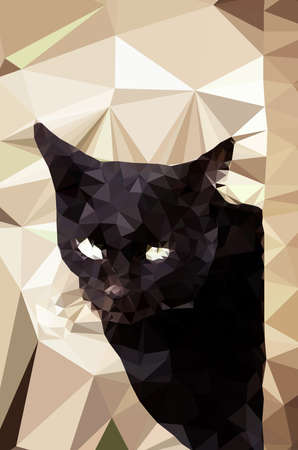 triangular eyes: Low poly design. Black Cat illustration.  low poly style.
