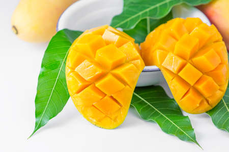 mango leaf: fresh mango fruit isolated on white background
