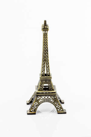 knack: Eiffel tower model isolated on white background