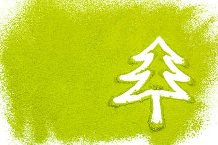 maccha: Christmas tree with powdered green tea on white background