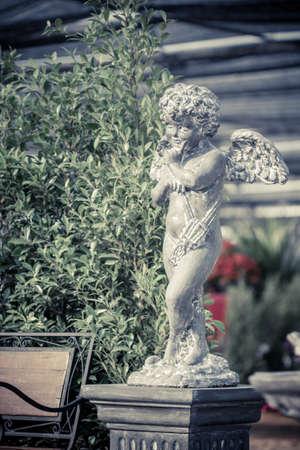 spreaded: little cupid angel with spreaded wings in an irish garden