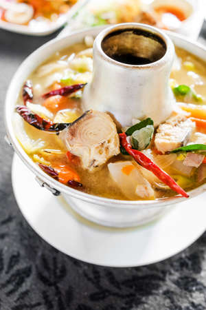 striped snake head fish: Tom Yum fish spicy soup with fresh water fish, Thai food.