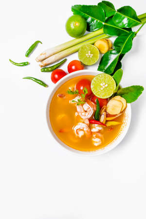 no1: Tom yam kong or Tom yum, Tom yam is a spicy clear soup typical in Thailand and No.1 Thai Dish Cuisine. Thai food.