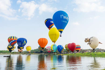 CHIANGRAI Thailand - FEBUARY 17 2017 : Singha Park International Balloon Fiesta 2017 in Singha Park, Chiang Rai, Thailand. Editorial