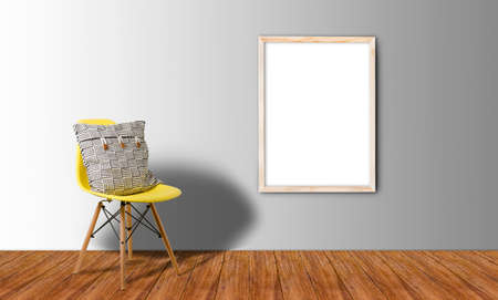 White Blank Poster in concrete floor room,Template Mock up for your content