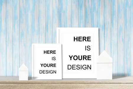 Modern home decor mock-up, Black frame with place for text. Mock up Stock Photo