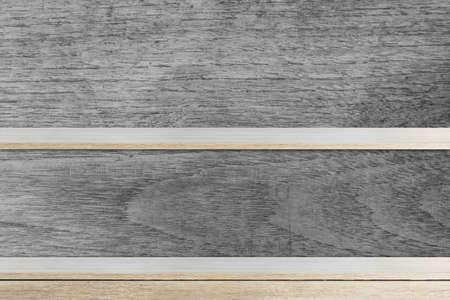 Empty wood shelf on wooden wall  background
