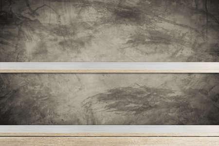 Empty wood shelf on concrete wall background