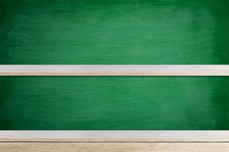 Empty wood shelf on green wooden wall