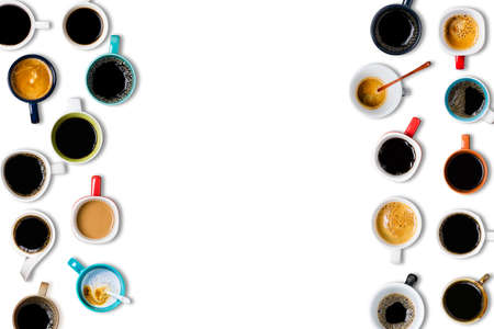 Many cups of coffee on white background. Top view Banco de Imagens