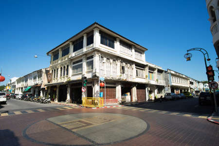 PHUKET, THAILAND -October 19, 2017, Phuket town, Thailand: Phuket old town with old buildings in Sino Portuguese style restoration is a very famous tourist destination of Phuket.