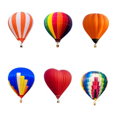 흰색 배경에 고립 된 다채로운 뜨거운 공기 풍선