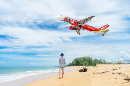 PHUKET, Thailand - October 23, 2017 : Vietjet airline airplane flying take off at Phuket International Airport, Mai Khao Beach, Phuket province, Southern of Thailand.