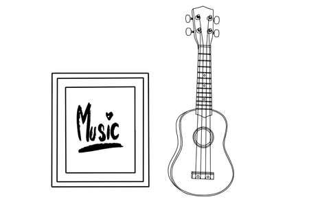A ukulele realistic cartoon drawing. Musical instruments design vector Illustration