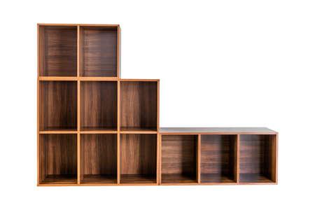 Empty wooden shelf isolated on white background. 免版税图像