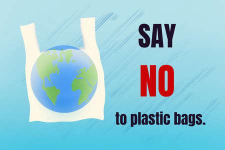 Say no to plastic bags. World environment Day concept. Banco de Imagens