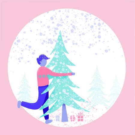 Cartoon illustration with christmas background templates with snow and christmas tree.