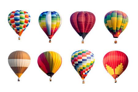 Set van kleurrijke hete lucht ballonnen geïsoleerd op een witte achtergrond. Stockfoto
