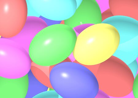Brightly colored pastel easter eggs Stock Photo