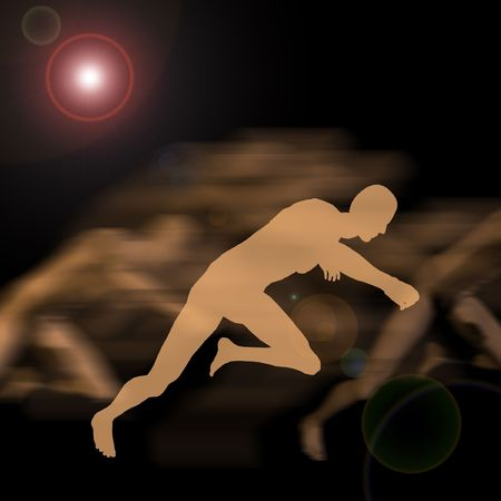 silhoutted: A sprinter silhoutted against others,  motion blurred in the background under a lens flare  Stock Photo