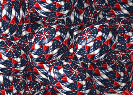 A collection of 3D easter eggs textured with the US flag