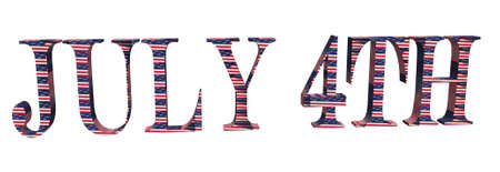 A 3d image of 4th of July lettering textured with the stars and stripes Stock Photo