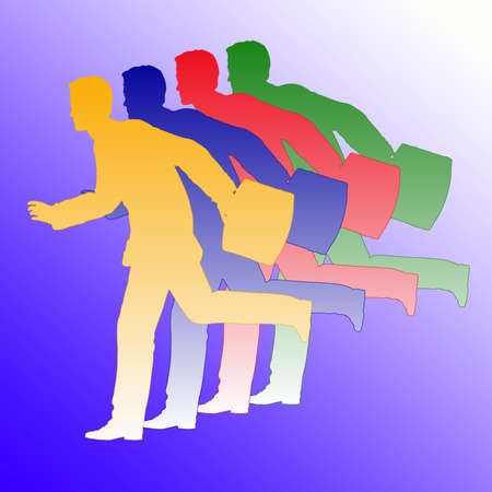 Running businessmen with briefcases silhouetted against a blue gradient background