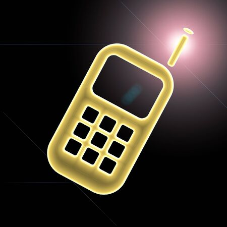 A glowing cell phone back lit by a lens flare