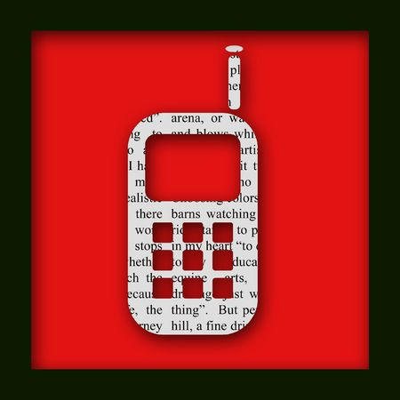 A newspaper cell phone cut out on a red background Stock Photo