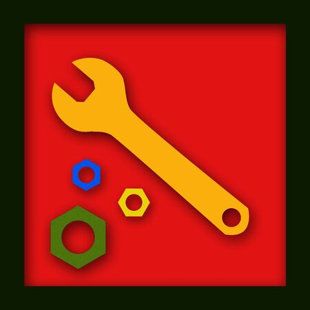 A Yellow wrench with colored nuts on a red background with a black border