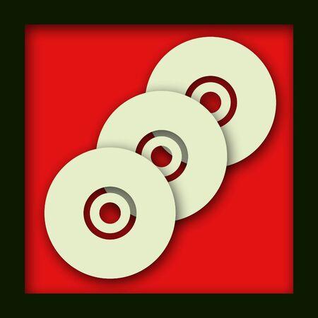 3 overlappende cd schijven op een rode achtergrond met een druppel schaduw Stockfoto