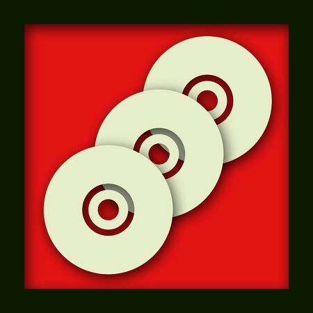 3 overlapping CD disks on a red background with a drop shadow