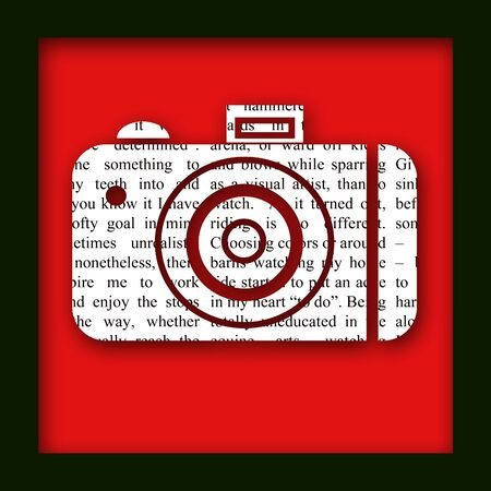 An illustration of a newspaper camera cutout with a border and drop shadow Stock Illustration - 831277