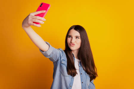 Portrait of lovely cheerful girl holding in hands telephone take selfie make cool grimace Stockfoto