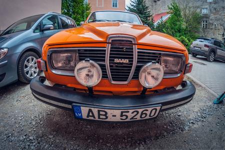 Estonia, Tallinn - May 17, 2016: Old car Saab 95. distortion perspective fisheye lens view
