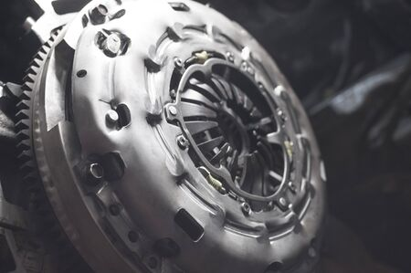 new sport clutch on a car the auto repair shop. close up Stockfoto - 138000976