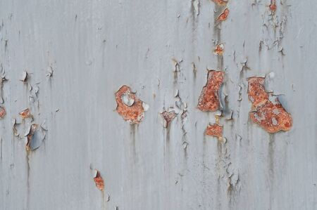 Rust texture on gray old painted metal plate Imagens - 138297824