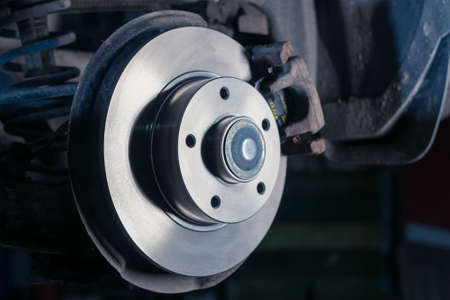 auto parts, new brake discs car service. Close up